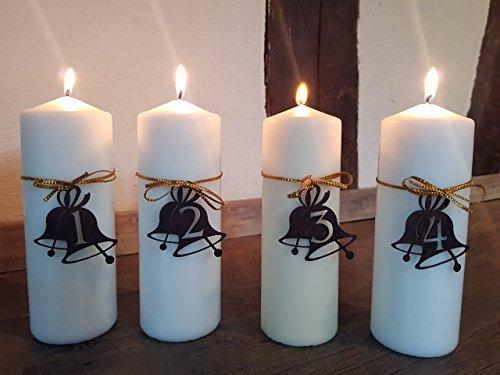 Kerzen Dekoration.Dekoration Kerzen Advent Mit Motiv Glocke Edelrost