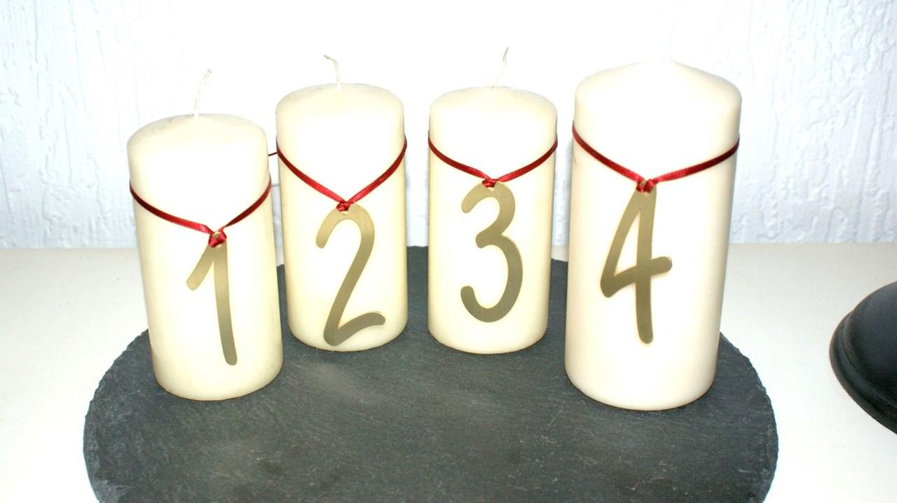 Messing Dekoration Kerzen Advent Mit Motiv Zahlen Edelrost